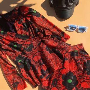 Vtg 70s Metallic Floral Boho Blouse Skirt Set SM